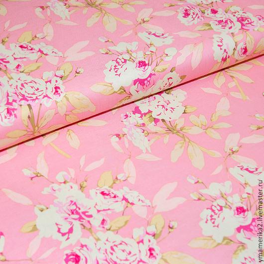 Шитье ручной работы. Ярмарка Мастеров - ручная работа. Купить Американский хлопок  БУКЕТЫ РОЗ на розовом фоне. Handmade.