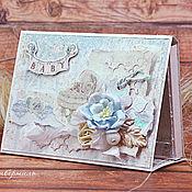 Канцелярские товары ручной работы. Ярмарка Мастеров - ручная работа Детский шебби мини-альбом. Handmade.