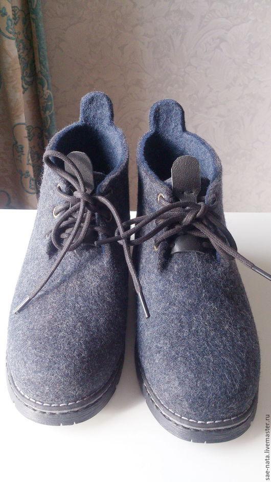 Обувь ручной работы. Ярмарка Мастеров - ручная работа. Купить Ботинки мужские валяные. Handmade. Серый, ботинки мужские