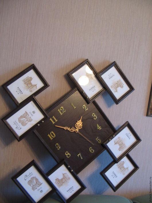 """Часы для дома ручной работы. Ярмарка Мастеров - ручная работа. Купить Настенные часы """"8 фоторамок ver.3"""". Handmade."""