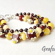 Украшения handmade. Livemaster - original item Bracelet stones yellow-Burgundy. Handmade.