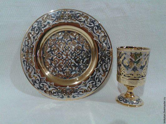 Декоративная посуда ручной работы. Ярмарка Мастеров - ручная работа. Купить Столовый сувенир сервиз посуда в подарок handmade тарелка и рюмка. Handmade.