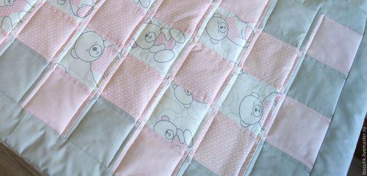 """Детская ручной работы. Ярмарка Мастеров - ручная работа. Купить Одеяло и подушка """"Ласковый мишка"""". Handmade. Комбинированный, мишка, постельное"""