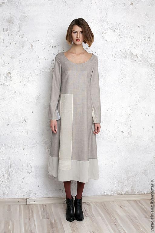 378ea686d2d Платья ручной работы. Ярмарка Мастеров - ручная работа. Купить Шерстяное  платье с шифоновой отделкой .