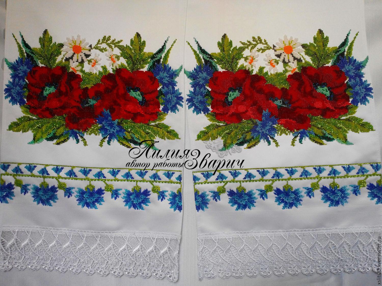 Вышивка бисером рушник свадебный 45