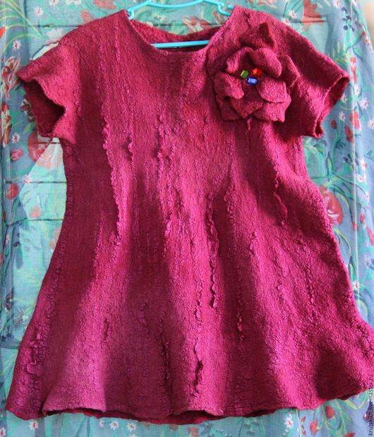 Одежда для девочек, ручной работы. Ярмарка Мастеров - ручная работа. Купить Валяное платье для девочки. Handmade. Бордовый, детская одежда