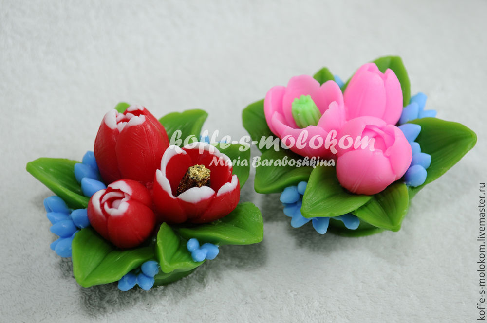 Silicone molds for soap Bouquet of tulips, Form, Moscow,  Фото №1