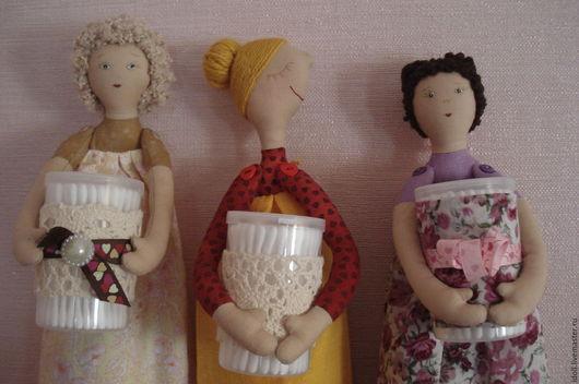 Коллекционные куклы ручной работы. Ярмарка Мастеров - ручная работа. Купить Хранительница ватных  дисков. Handmade. Сиреневый, хранительница палочек