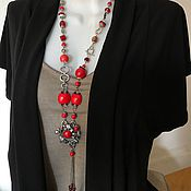 Украшения handmade. Livemaster - original item Long necklace of natural coral. Boho beads stones. Handmade.