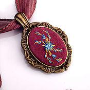 Украшения handmade. Livemaster - original item Embroidered pendant Fiordaliso. Handmade.