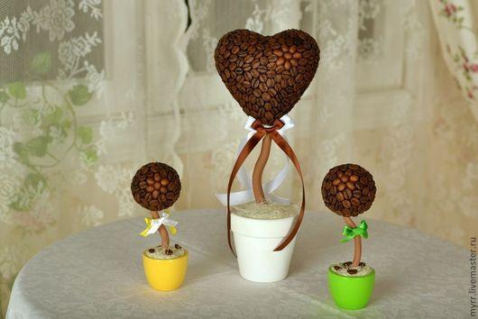 Топиарии ручной работы. Ярмарка Мастеров - ручная работа. Купить Кофейное дерево в форме сердца. Handmade. Кофе, кофейное дерево