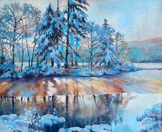 """Пейзаж ручной работы. Ярмарка Мастеров - ручная работа. Купить """" на исходе дня"""". Handmade. Голубой, пейзаж, зима, закат"""