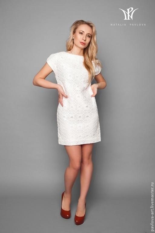 Платья ручной работы. Ярмарка Мастеров - ручная работа. Купить Платье летнее кужевное из хлопка и шелка. Handmade. Белый