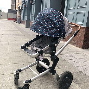 Товары для малышей ручной работы. Ярмарка Мастеров - ручная работа Козырек для коляски универсальный «Темно-синие звезды». Handmade.