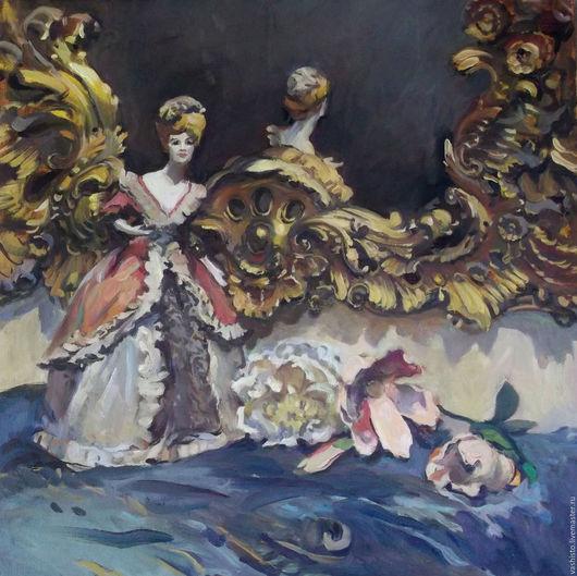 Картина с куклой. Золушка. Картина написана маслом. Среднего размера. Сюжет изображает маленькую фарфоровую французскую куклу перед зеркалом. На столике, перед куклой лежат цветы пионы.