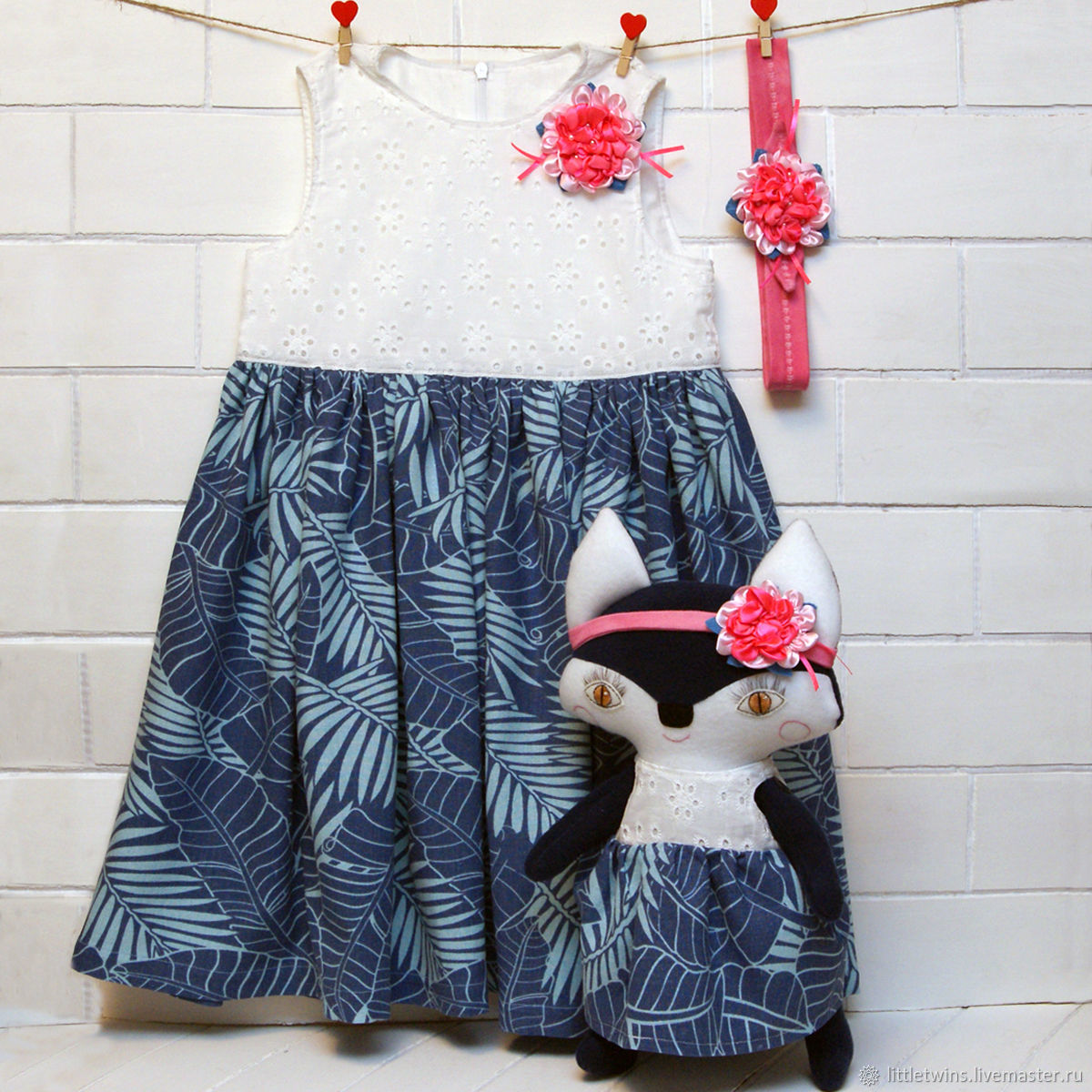 Blue dress for girl and blue Fox, Childrens Dress, St. Petersburg,  Фото №1