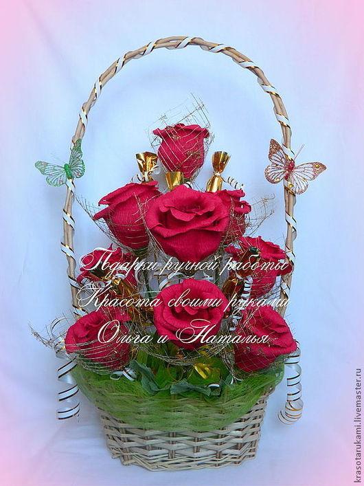 """Букеты ручной работы. Ярмарка Мастеров - ручная работа. Купить Конфетный букет """"Чудесники"""". Handmade. Бордовый, весенние цветы"""