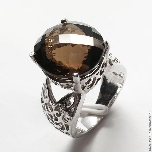 Кольцо ручной работы с раухтопазом (17,3 ct.), серебро 925