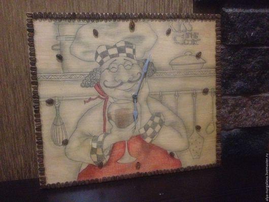 Часы для дома ручной работы. Ярмарка Мастеров - ручная работа. Купить Шеф кухни. Handmade. Бежевый, часы, кофейные зерна