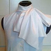 Одежда handmade. Livemaster - original item Blouse with a bow 42r.44r.46R.48R.50 / white viscose. Handmade.