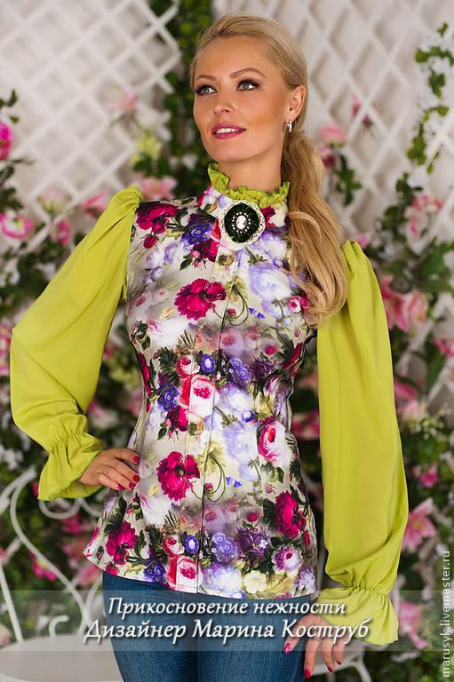Блузки ручной работы. Ярмарка Мастеров - ручная работа. Купить Блузка Виолетта-2. Handmade. Ярко-зелёный, блузка женская
