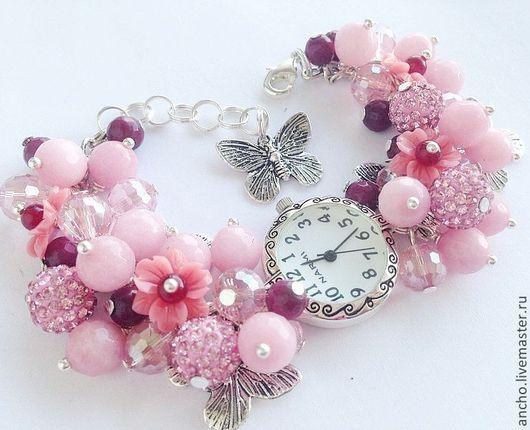 """Часы ручной работы. Ярмарка Мастеров - ручная работа. Купить Часы """"Бабочки в розовом"""". Handmade. Бледно-розовый, подарок девушке"""