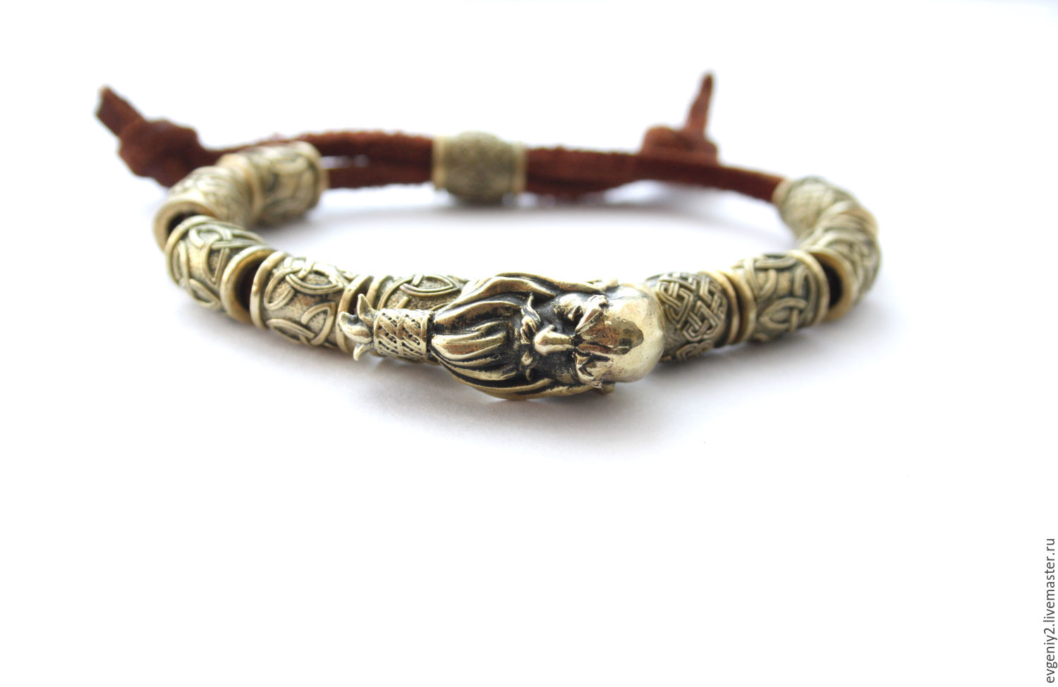 A Leather Bracelet 'Minttiger' With The Bronze Figure And Charms, Bead bracelet, Volgograd,  Фото №1