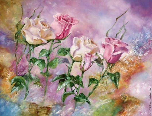 Картины цветов ручной работы. Ярмарка Мастеров - ручная работа. Купить Картина маслом Розы. Handmade. Розовый, картина для интерьера