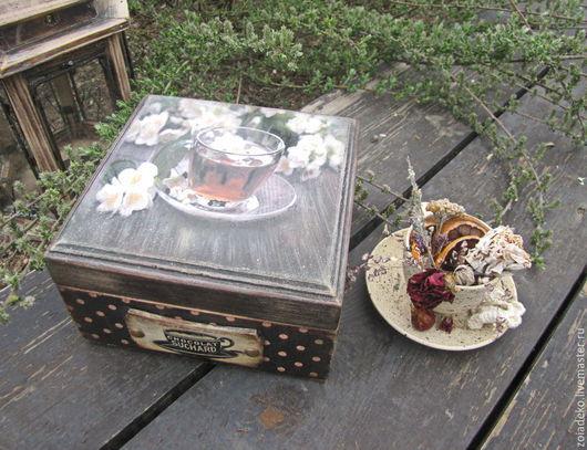 """Кухня ручной работы. Ярмарка Мастеров - ручная работа. Купить Короб для чая """"Жасминовый чай"""". Handmade. Коричневый, короб для хранения"""
