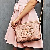 Сумки и аксессуары handmade. Livemaster - original item Handbag clutch Hibiscus rose gold. Handmade.