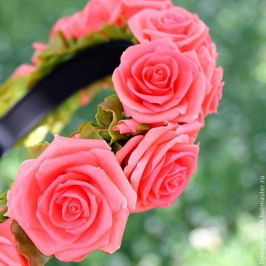 Диадемы, обручи ручной работы. Ярмарка Мастеров - ручная работа. Купить Ободок с коралловыми розами. Handmade. Коралловый, ободок с цветами