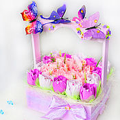 Цветы и флористика handmade. Livemaster - original item Flowers of sweets in a wooden box