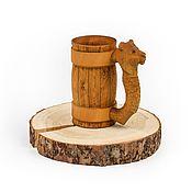 Посуда handmade. Livemaster - original item Wooden mug with carved handle