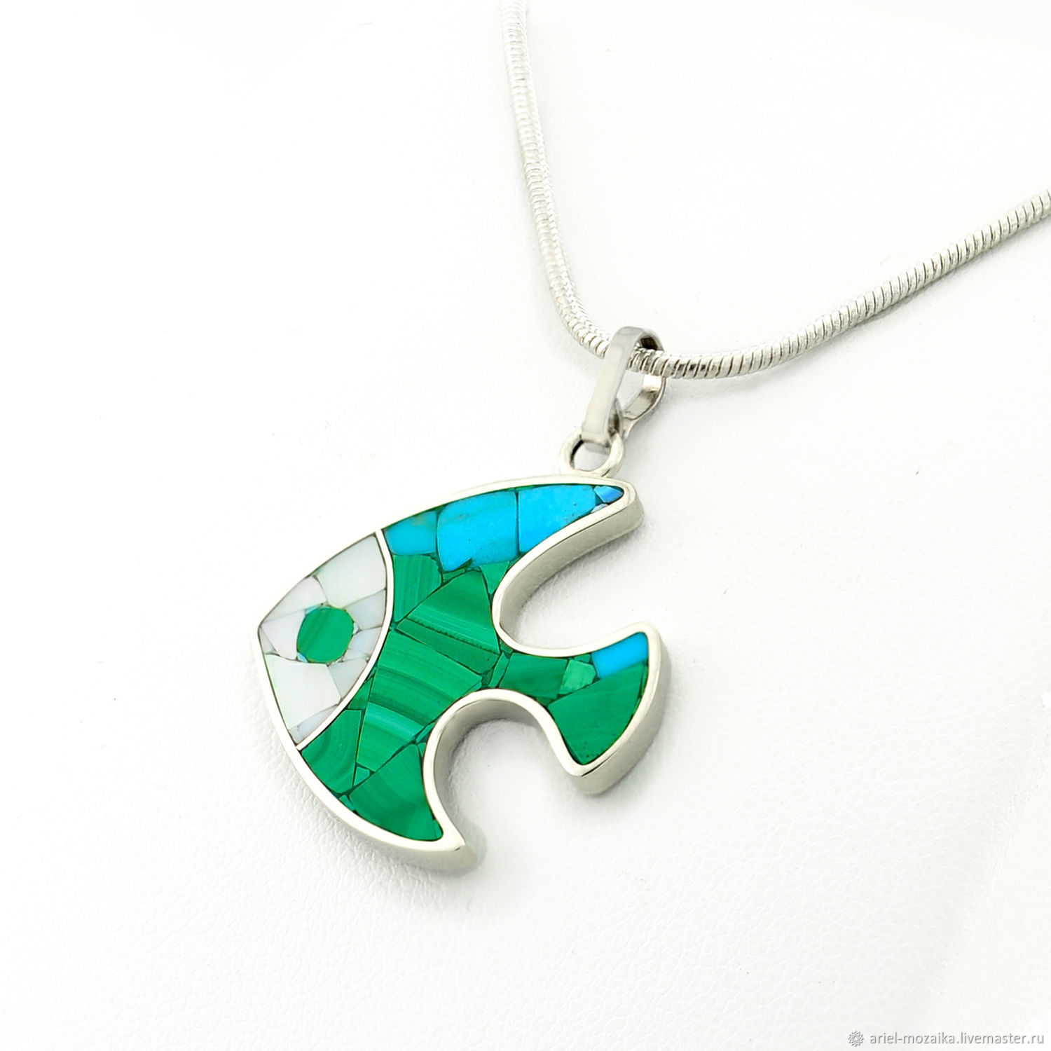 Pendant Fish. Pendant with turquoise, malachite, mother of pearl, Pendant, Moscow,  Фото №1