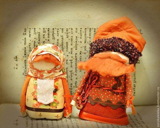 """Народные куклы ручной работы. Ярмарка Мастеров - ручная работа. Купить Семейка кержаков """"Рыжик и лисичка"""". Handmade. Рыжий, зернушки"""
