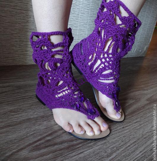 №5-2 Кружевные сандали высокие через палец `Openwork sandals`