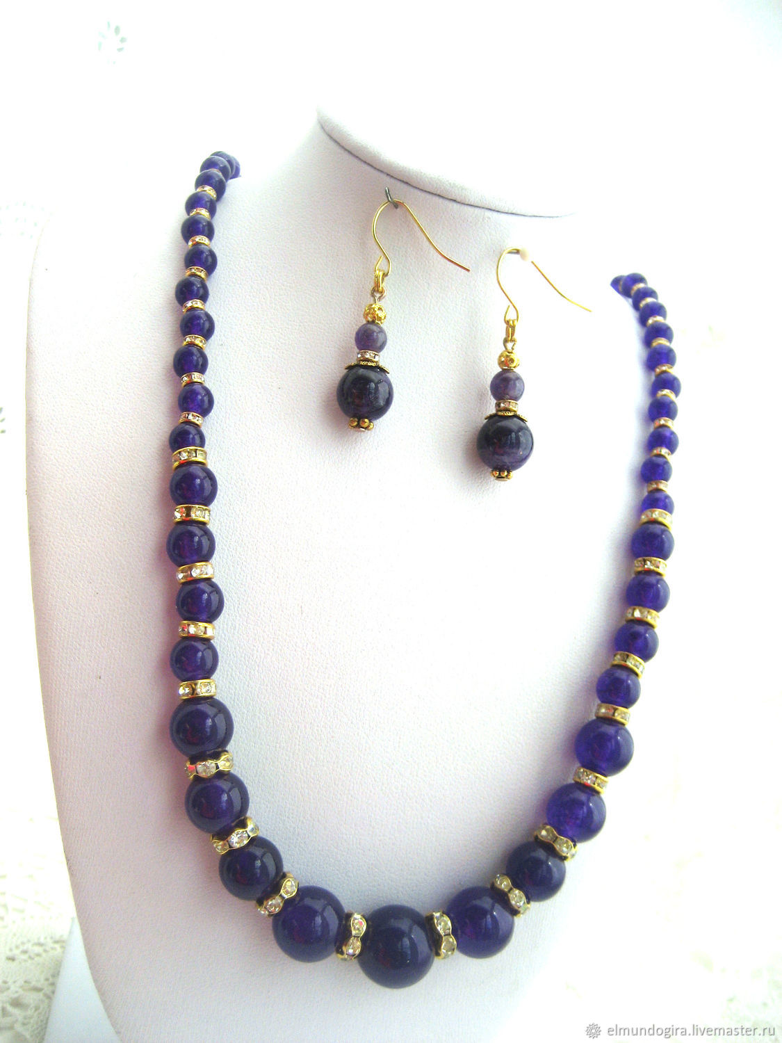 Real aAmethyst gemstone necklace and earrings set, Jewelry Sets, Moscow,  Фото №1