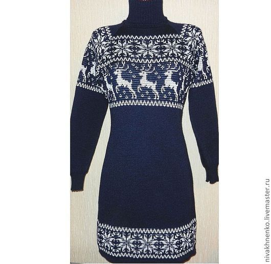 Платья ручной работы. Ярмарка Мастеров - ручная работа. Купить Платье вязаное  с норвежским орнаментом Снежный олень (темно-синее). Handmade.