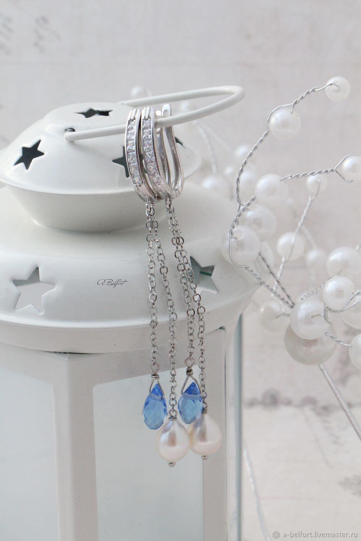 Earrings 'Oxygen' natural pearls, crystals, Earrings, Omsk,  Фото №1