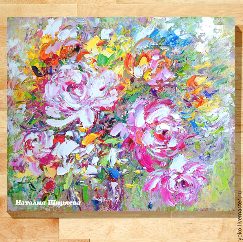 Oil painting peonies 'the Wind with the Fragrance of Peonies' painting peonies oil, Pictures, Voronezh,  Фото №1