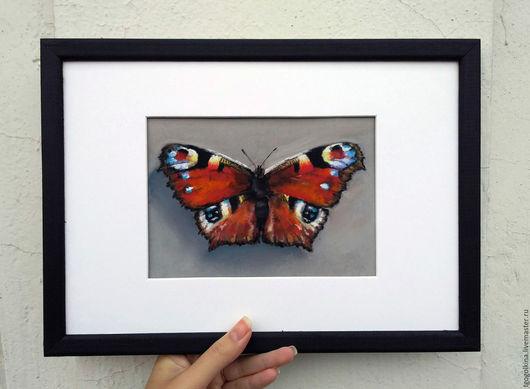 """Животные ручной работы. Ярмарка Мастеров - ручная работа. Купить Авторская картина пастелью """"Бабочка Павлиний глаз"""". Handmade."""