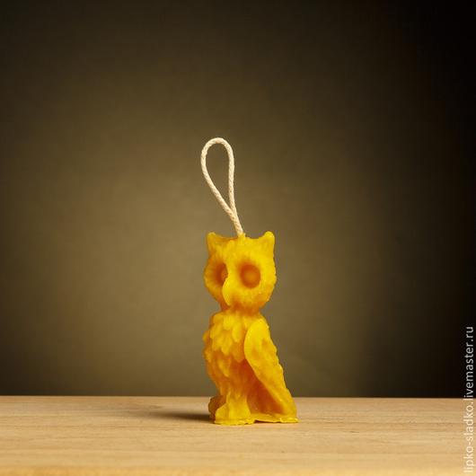 """Свечи ручной работы. Ярмарка Мастеров - ручная работа. Купить Свеча из  натурального пчелиного воска """"Сова"""". Handmade. Желтый"""