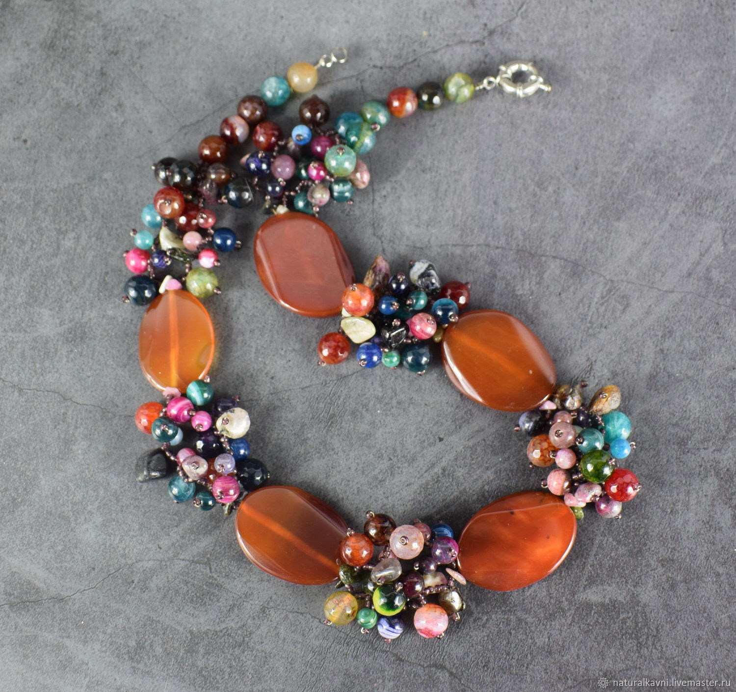 Necklace natural agate multicolored, Necklace, Moscow,  Фото №1