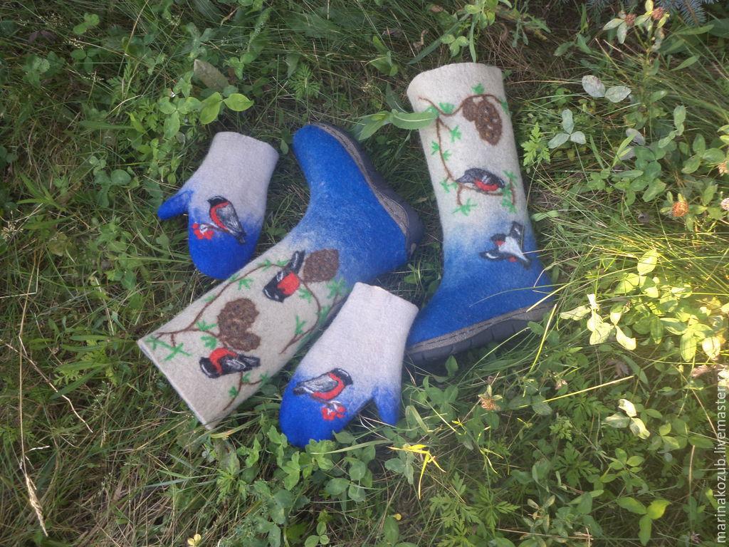 Обувь ручной работы. Ярмарка Мастеров - ручная работа. Купить Валяный комплект Зимний. Handmade. Бежевый, валенки для улицы