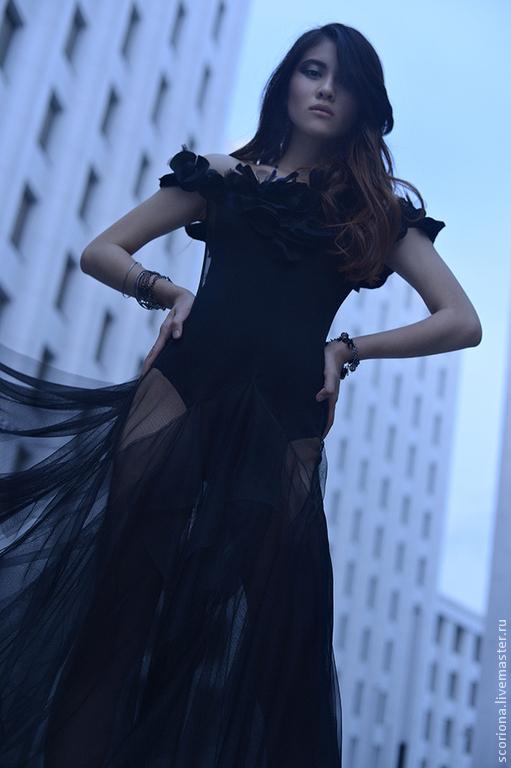 Платья ручной работы. Ярмарка Мастеров - ручная работа. Купить Прозрачное платье из сетки. Handmade. Черный, цветы, сетка