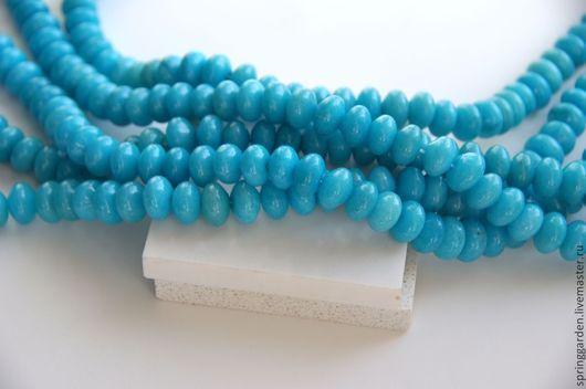Для украшений ручной работы. Ярмарка Мастеров - ручная работа. Купить Нефрит бусины голубая гладкая рондель. Handmade.