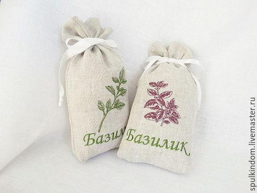 Льняной мешочек `Базилик`. Серия `Пряные трав`  `Шпулькин дом` мастерская вышивки