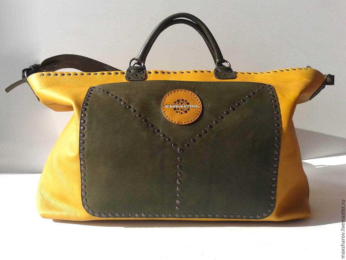 Leather handbag, yellow and olive leather, art 003 be happy, Classic Bag, Moscow,  Фото №1