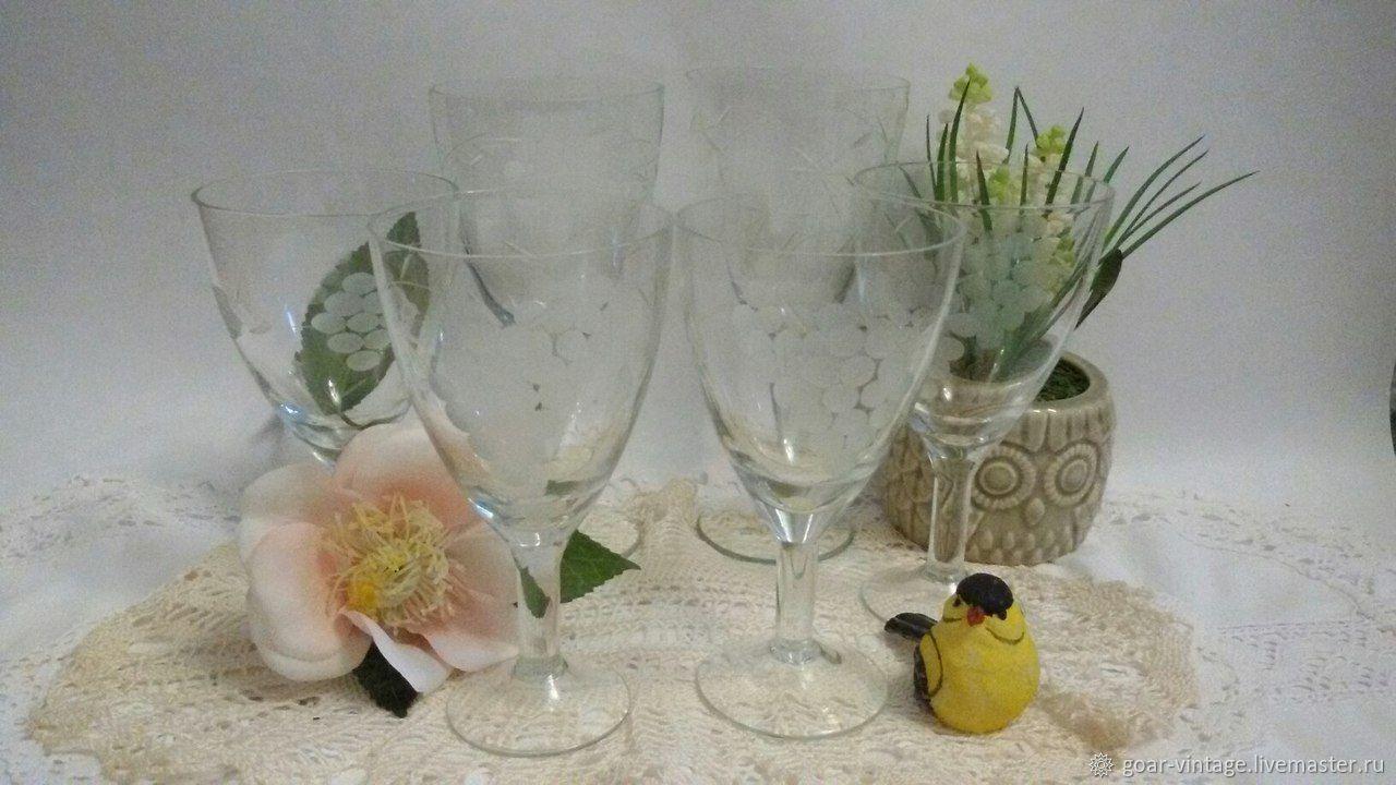 "Винтаж: Стеклянные бокалы, фужеры на ножке ""Виноград""- 6 шт, Винтажные стаканы, Краснодар, Фото №1"