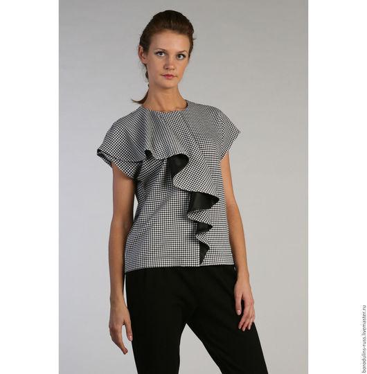 """Блузки ручной работы. Ярмарка Мастеров - ручная работа. Купить Жакет """"Гусиная лапка"""". Handmade. Чёрно-белый, дизайнерская блуза"""